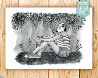 The girl in the woods print
