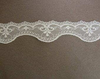 2yds - White Scallop Lace Trim