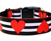 "Valentines Dog Collar 1"" or 1.5"" Red Heart Dog Collar"