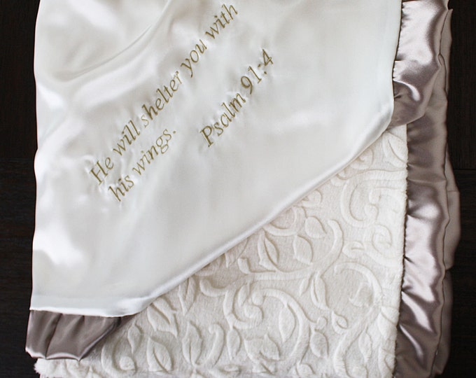 Minky Blanket, Blessing Blanket, Baptism blanket, satin and minky blanket, Christening Blanket, Blanket with scripture, cream and gold