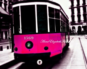 Milan Trolley,Italy Photography, Neon Pink,Hot Pink, Italian Print,Streets of Italy,Fashion Print,Italian Kitchen Art,Travel,Preppy Art,Dorm