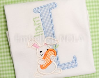 Cottontail Easter Applique Shirt or Bodysuit - Initial with Bunny & Name