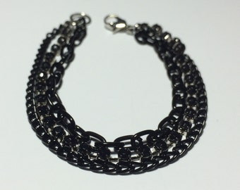Black Crystal Bracelet - 7-inch, 3-strand, Black Rhinestones with Black Aluminum Accent Chains