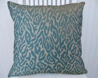 Aqua Animal Print Pillow Cover---100% Cotton  Decorative Throw Pillow-Accent Pillow, 18 x18, 20 x 20, 22 x 22 or Lumbar Sizes