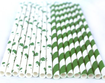 Green Lucky Clover Mix Paper Straws----Parties---25ct with Free Printable diy Flags