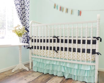 Boutique Cribset in Navy Blue, Aqua and Metallic Gold with Aqua Ruffled Crib Skirt