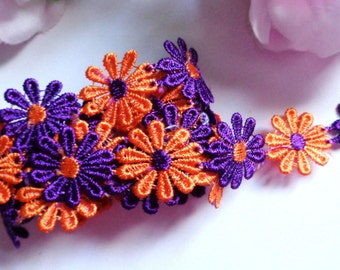 1 inch wide embroidered Beautiful Flower Lace trim selling by yard
