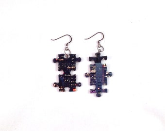 Night Skyline Puzzle Piece Earrings /City Building Lights / Upcycled Jewelry