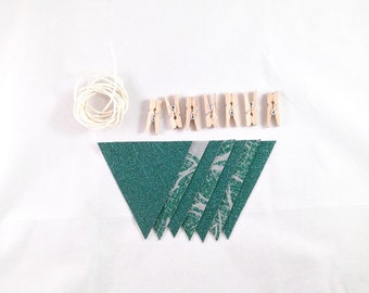 Small Green & Gray Banner / Holiday Decor / Bunting Flags