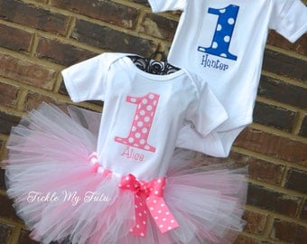 Boy/Girl Twin Blue and Pink Polka Dot Party Themed Birthday Outfits-Twin Polka Dot Outfits-Pink and Blue Polka Dot Twin Birthday Sets