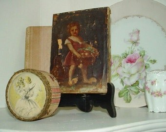 SALE Antique 18th Century Painting Child  With Basket Miniature As found Possibly 17th Century Masterpiece