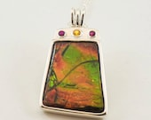 Crown Jewels Ammolite Necklace Sterling Silver