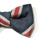 Mens or Boys Clip-On Bow Tie Silk striped navy blue red and white