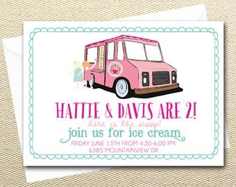 Ice Cream Truck Birthday Party Digital Invitations