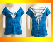 SALE!!!  2XL...ONLY 1 Made...Tie Dyed Shredded Womens / Juniors Top Great for Yoga Wear, Beach Wear and Club Wear