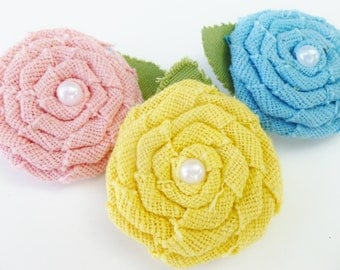 burlap flower hair clips with pearls-- set of 3 rustic pink blue yellow hair bows-- flower girl accrssories--bridal gift ideas
