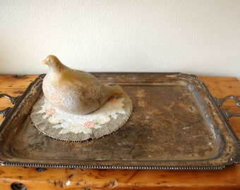 Vintage Large Shabby Silver Plated Tray, Vintage Silver Plated Crested Tray from The Eclectic Interior
