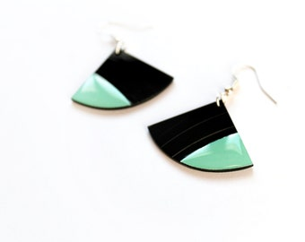 mint green earrings fan earrings vinyl earrings geometric earrings eco friendly earrings upcycled earrings mint jewelry light earrings