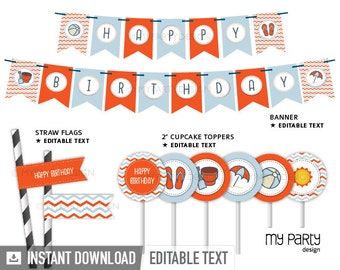 Beach Party - Pool Party - Party Pack - INSTANT DOWNLOAD - Printable PDF with Editable Text