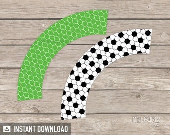 Soccer Party - Cupcake wrappers - Sports Party - Football Party - INSTANT DOWNLOAD - Printable PDF
