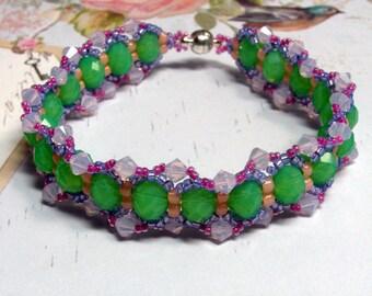 Easter Bracelet, Spring Bracelet, Green Bracelet, Pink Bracelet, Swarovski Bracelet, Pastel Bracelet, Woven Bracelet, Beaded Bracelet