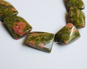 6 Unakite natural gemstone twisted rectangle beads 18x13mm POM179