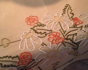 Vintage Taupe Linen Tablecloth, Embroidered Daisies