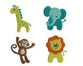 Mini Jungle Animals Machine Embroidery Designs-INSTANT DOWNLOAD