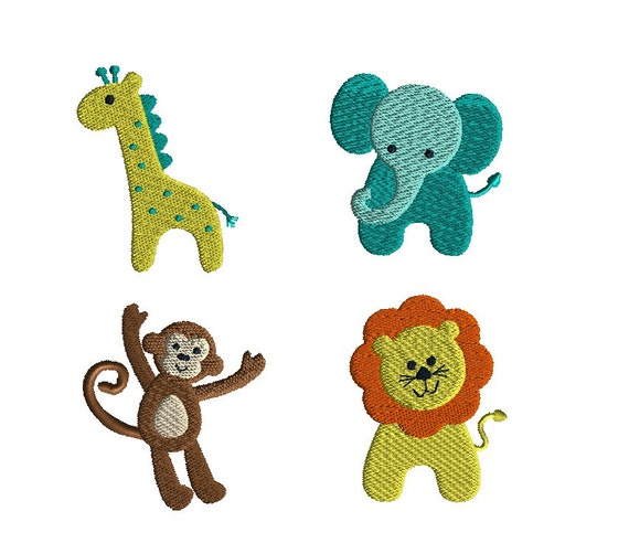 Mini Jungle Animals Machine Embroidery DesignsINSTANT