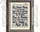 Nightmare Before Christmas 15 Simply Meant to Be Lyrics Typography on Vintage Upcycled Dictionary Art Print Book Art Print Love Romance