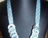 Statement necklace Washer Ribbon Light Blue & White necklace