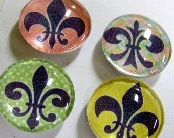glass magnets - set of 4 - fleur de lis