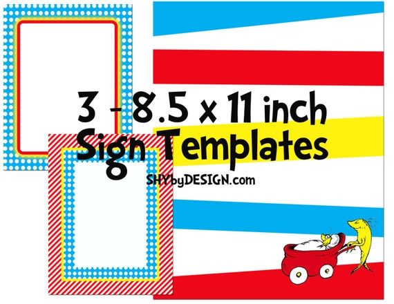 DIY Dr. Seuss Baby Shower Sign Templates