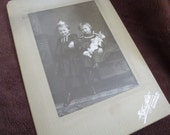 Photo Vintage Two Little Girls One Holding a Bisque Doll
