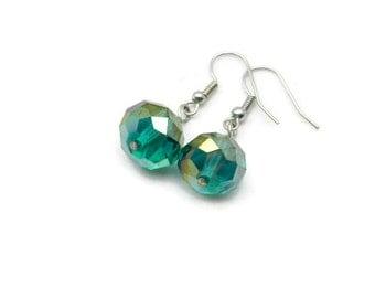 Teal Green Crystal Drop Earrings