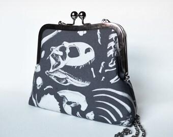 Dark Dinosaur Bones Clutch Purse - kisslock clip frame - original art