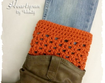 """CLEARANCE! 40% off! Terra Cotta Orange Boot Cuffs, wear 2 different ways!  Fits 12-14"""" calf, or larger legs if warn with low boots."""