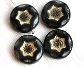 Black Star beads, czech glass beads with golden inlays, pressed beads, coin shape, round flat bead - 17mm - 4Pc - 0426