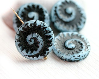 Blue and black beads, czech glass, spiral beads, circle, large, round, fossil, snail, tablet shape - 17mm - 4Pc - 2191
