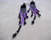 Closeout--Bold Black and Purple Seed Bead Earrings