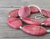 Pink Statement Necklace: Chunky Oval Rhodonite Beads with Sterling Silver