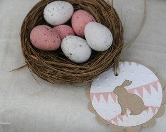6 Kraft Bunny Rabbit Gift Tags ~ Baby Shower ~ New Baby ~ Birthday