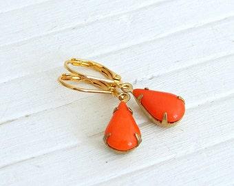 Orange Teardrop Earrings .. orange earrings, neon orange, tangerine earrings, orange dangle earrings, colourful earrings