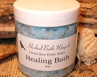 HEALING Herbal Bath Salts 4oz Jar  Dead Sea Salts