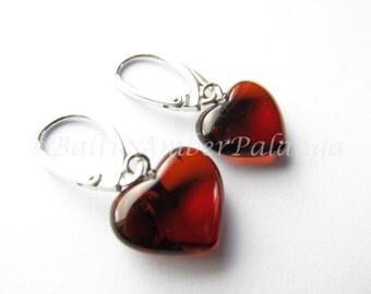 Baltic Amber Dangle Heart Cherry Color Earrings