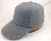 6 panel dark grey wool flannel cap. 1940s visor, leather or cotton sweatband, any size, custom made.