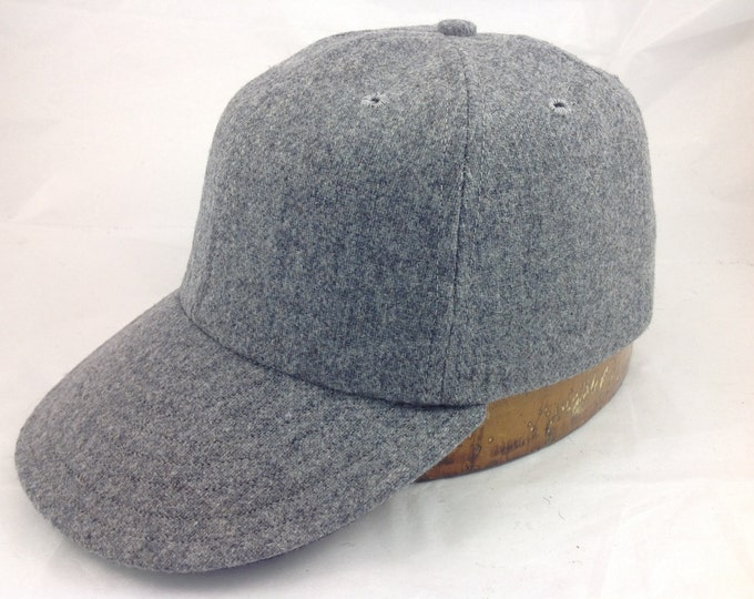 6 panel (any color) wool flannel ballcap. 1940s visor, cotton sweatband,  custom made, select size and fabric color upon checkout.
