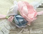 Sweet Pearl - Pink, Satin, Flower, Satin and Chiffon Headband, Pastel, Pink, White, Cream, and Blue Satin, Lace, Swiss dot, Velvet