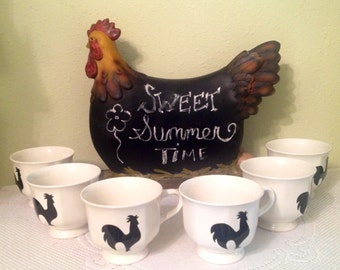 NEW Rooster Coffee Cups Country Home Country Kitchen Rooster Decor Housewarming Gift Home Decor Ready To Ship One Of A Kind Rooster Lover