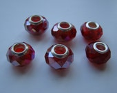European Large Hole Glass & Metal Beads - 6 count - Iridescent Red